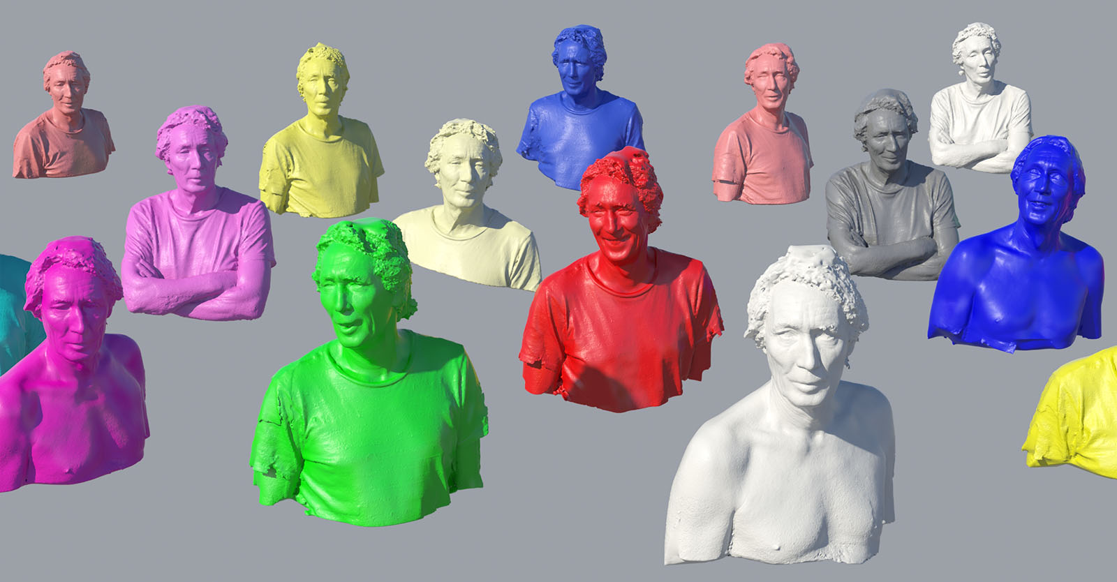 Serie of 3D scan face with different expressions